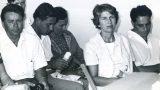 "הני דה-האן (לשעבר חריטסן), פרנס חריטסן, באוקה קונינג, טינוס סחאבין וטוני סחאבין בבית הנשיא שז""ר אוגוסט 1964"